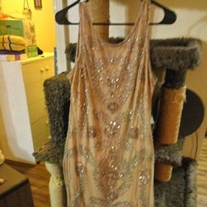 Pisarro Nights Tan Beaded Sleeveless Dress 14